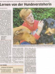 Zeitungsbericht Hundeflüsterin Karin Vorwerk