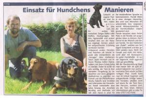 Zeitungsanzeige Einzeltraining mit Hunden